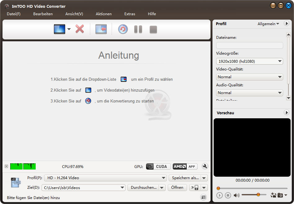 Screenshot vom Programm: ImTOO HD Video Converter