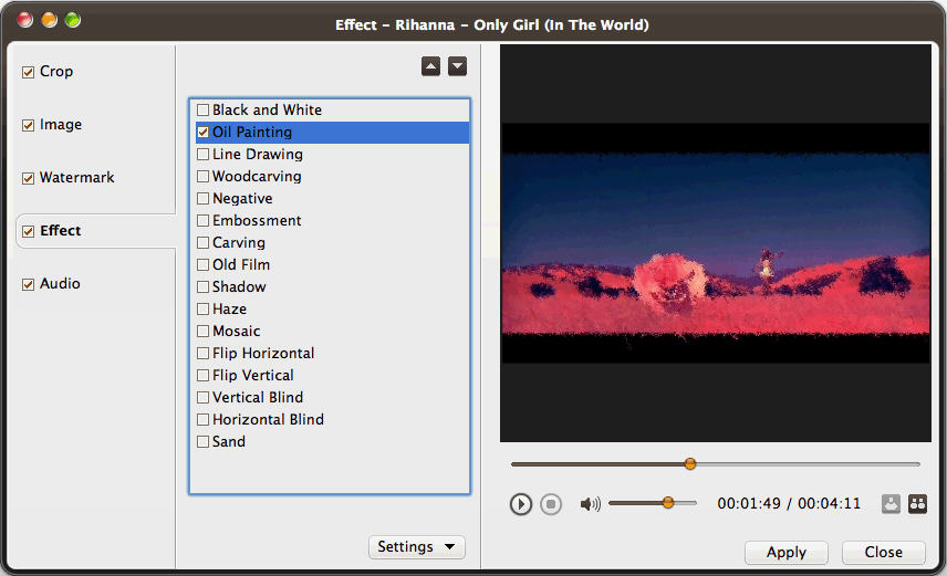 Video Converter Ultimate for Mac effect